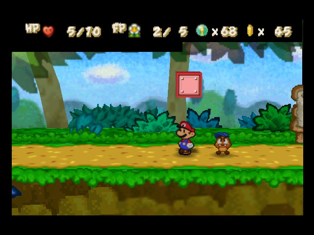 Paper Mario - Level  - That block should drop on Mario